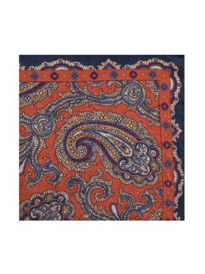 Drakes Wool Silk Pocket Square Paisley orange