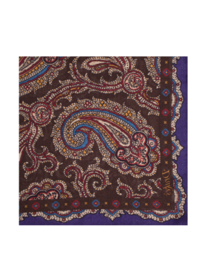 Drakes Wool Silk Pocket Square Paisley brown