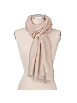 Lanificio Colombo Cashmere Scarf Beige, with slim Lurex silver stripes