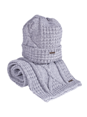 Bark Set Bonnet and Scarf for Kids Light Grey