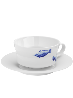 Hone Fish Cup with Saucer by Hering Berlin