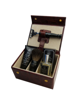 Taylor of Old Bond Street Jermyn Street Collection Luxury Leather Grooming Box Brown Mock-Croc