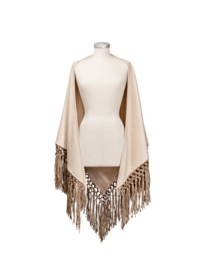 Lanificio Colombo Cashmere Cape with Leather Fringes Natural Brown