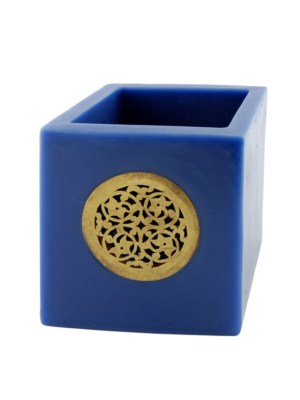 Tea Light Holder of Wax Blue