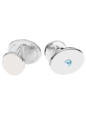 Deumer Silver Cufflink Oval Light Blue