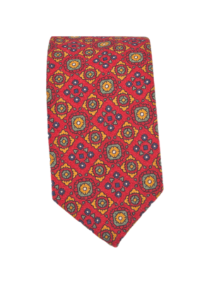 Drakes Tie Wool Printed Vivid Pattern Red