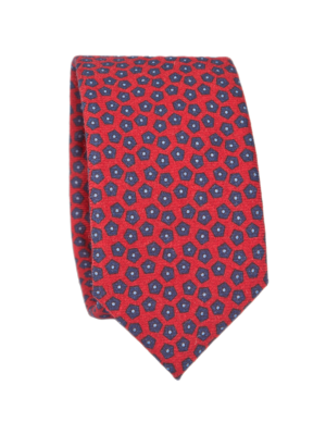 Drakes Tie Wool Printed Pentagon Pattern Red