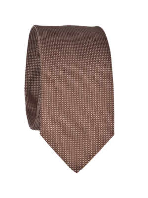 Drakes Silk Tie Jaquard Brown White