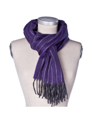 Drakes Lambswool Angora Scarf with Pinstripes