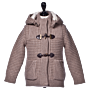 Bark Duffle Coat Knitted for Kids in Sand with Hood and Cuddly Lining of Fur Imitation