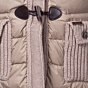 Bark Ladys Duffle Coat Knitted and Quilted with Down Filling in Sand