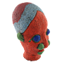 African Beaded Clay Head Sculpture Red
