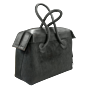 Fur Leather Handbag Anthracite