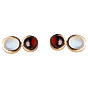 Torhaus Gold Studs with White Moonstone and Red Garnet