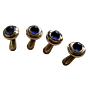 Torhaus Gold Tuxedo Studs with Blue Iolite Cabochons