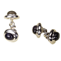 Torhaus Silver Cuff Links with Black Onyx Cabochons