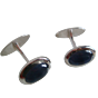 Torhaus White Gold Cuff Links with Big Oval Sapphire Cabochons