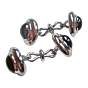 Torhaus White Gold Cuff Links with Blue Iolite and Red Garnet Gabochons