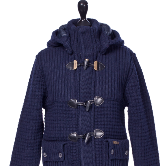 Bark Duffle Coat Knitted for Kids Detachable Hood Navy Blue