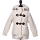 Bark Duffle Coat Knitted for Kids Off-White with Hood and Cuddly Lining of Fur Imitation