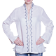 White Linen Tunic with Border and Stitching