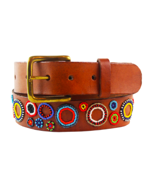 Aspiga Multicolored Beaded Leather Belt Circles