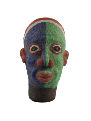 African Beaded Clay Head Sculpture Blue-Green