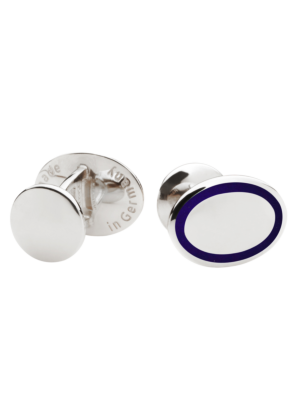 Deumer Cufflink oval with circumferential line in oceanblue