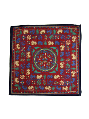 Drakes Pocket Square Elephant navy-red