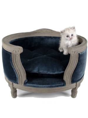 Lord Lou George Grey Pet Basket - Cut Pile Blue