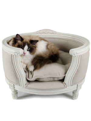 Lord Lou George Pet Basket - Ecru Linen