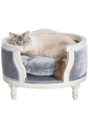 Lord Lou George White Pet Basket - Cut Pile Grey