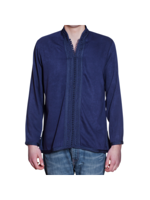 Moroccan men's shirt with border and embroidery blue XL