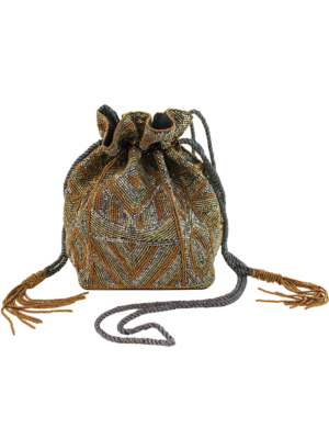 Aspiga Handmade Beaded Pouch Bag Bronze