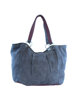 Suede Leather Shopper Blue
