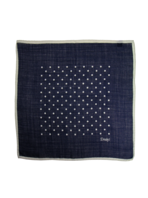 Drakes Wool Silk Pocket Square Spot navy-white