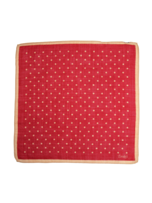 Drakes Wool Silk Pocket Square Spot red-white