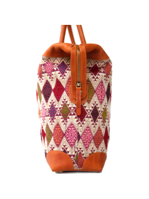 Lab bag with Vintage weaved textile from Laos by Ofantique